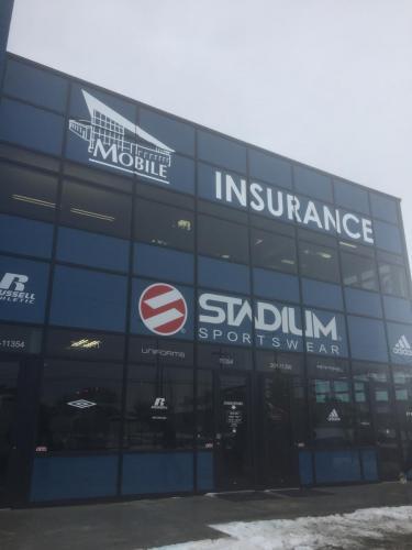 Mobile Insurance - Exterior second floor window graphics